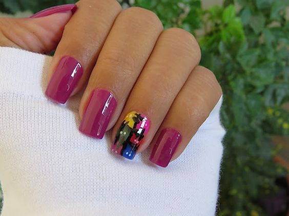 unhas decoradas festas juninas rosa