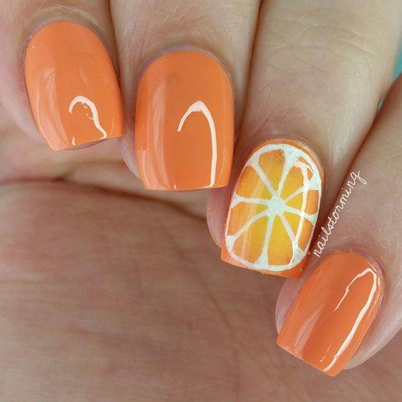 unhas decoradas frutas laranja