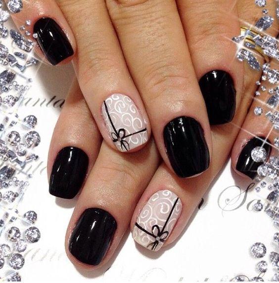 unhas decoradas pretas curtas laco