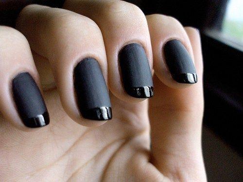 unhas decoradas pretas francesinha fosco