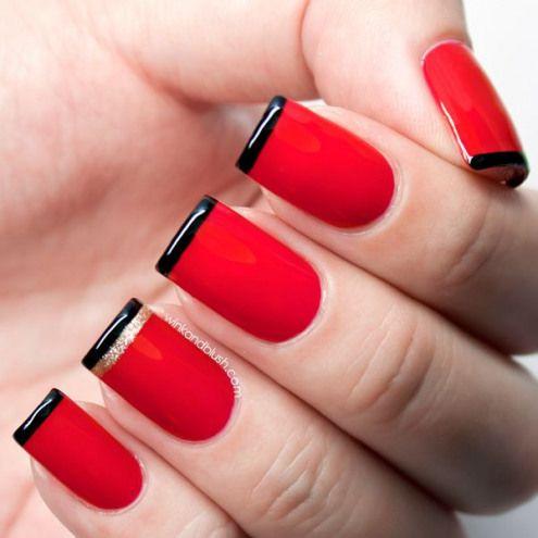unhas decoradas pretas francesinha vermelho