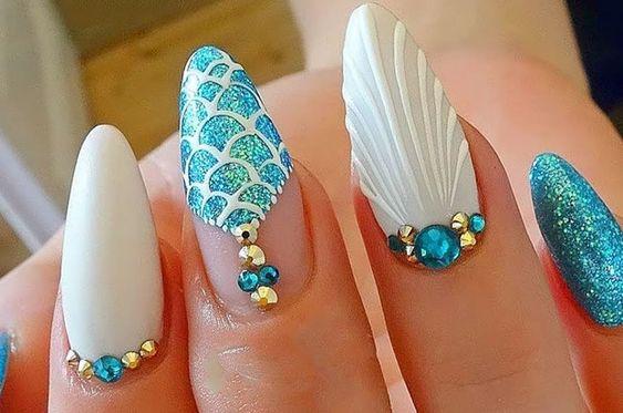 unhas decoradas sereia azul predaria