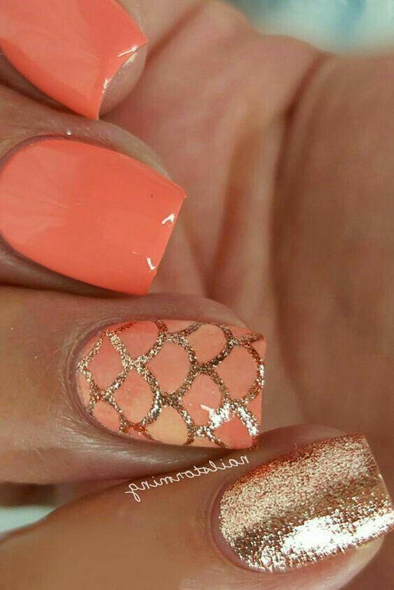 unhas decoradas sereia laranja