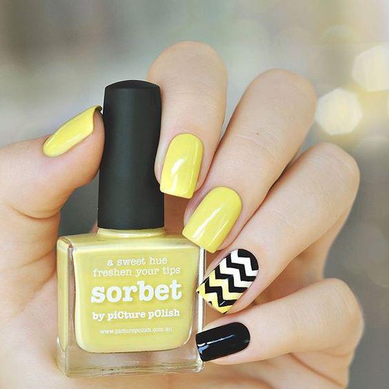 unhas decoradas tumblr coloridas amarelo