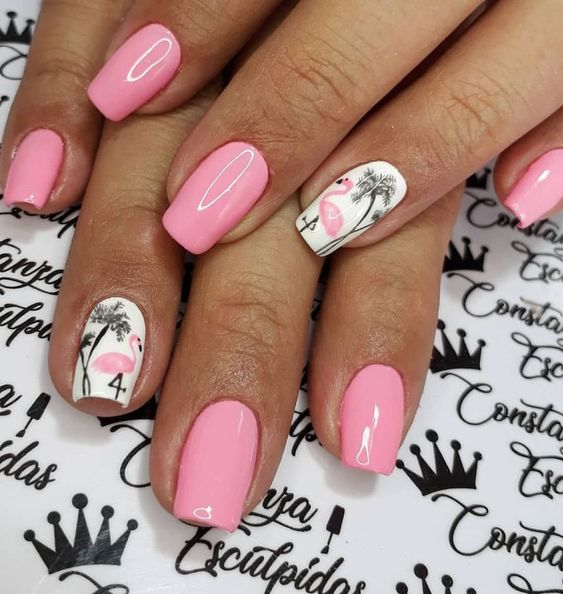 unhas decoradas tumblr criativas flamingo