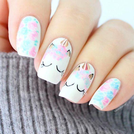 unhas decoradas unicornio 1