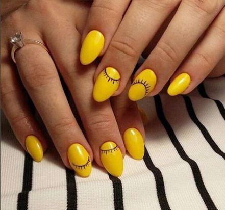 unhas decoradas verao amarela ideias