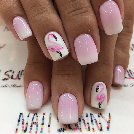 unhas decoradas verao flamingo
