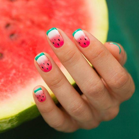 unhas decoradas verao melancias