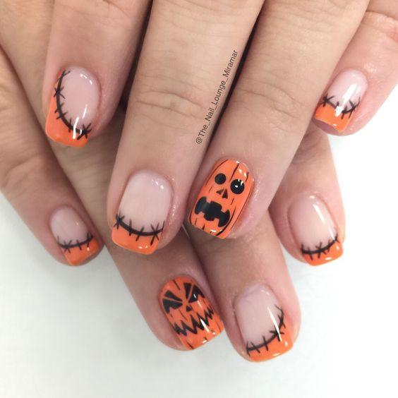 unhas halloween abobora