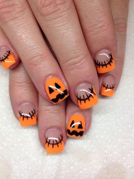 unhas halloween laranja