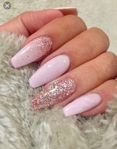 unhas rosa glitter