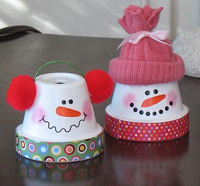 vasos decorados para natal