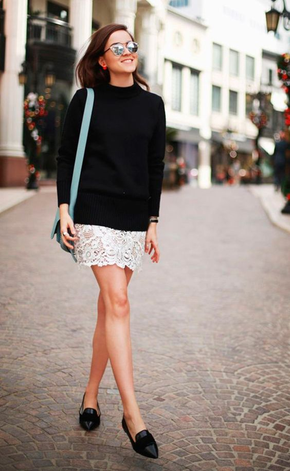 vestido barrado renda preto