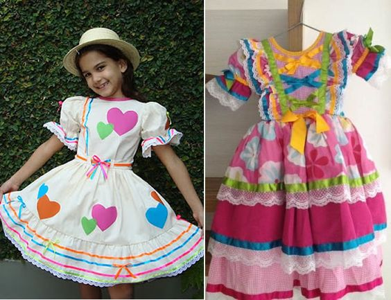 vestido caipira festa junina criança
