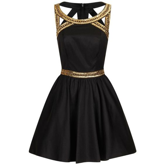vestido de festa preto dourado