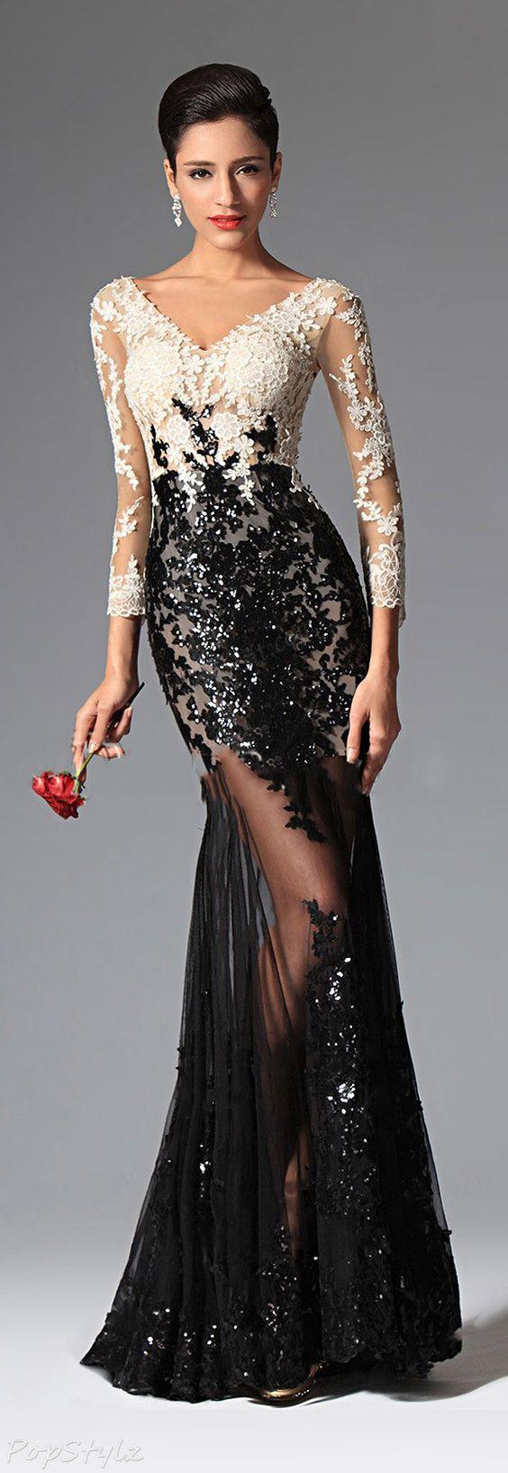 vestido gala preto e branco
