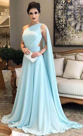 vestido longo festa azul