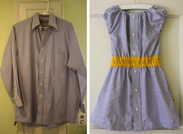 vestido menina feita de camisa
