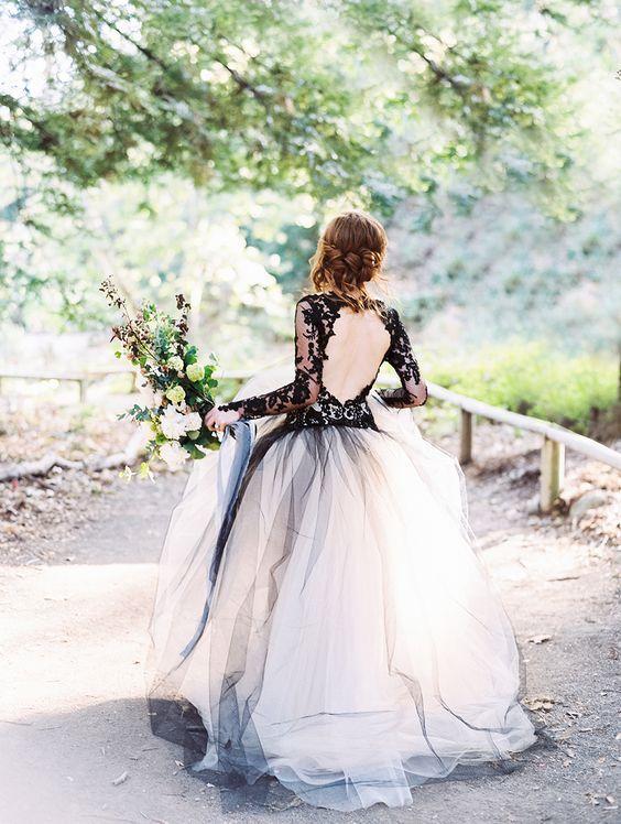 vestido noiva preto branco