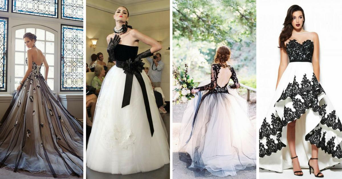 988573bf4 10+ Modelos de Vestidos de noiva pretos e brancos