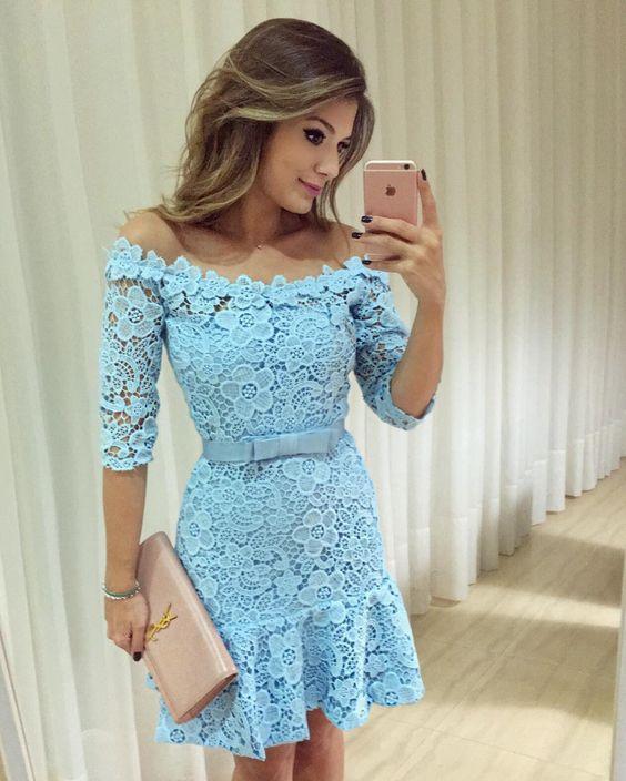 vestido renda curto azul