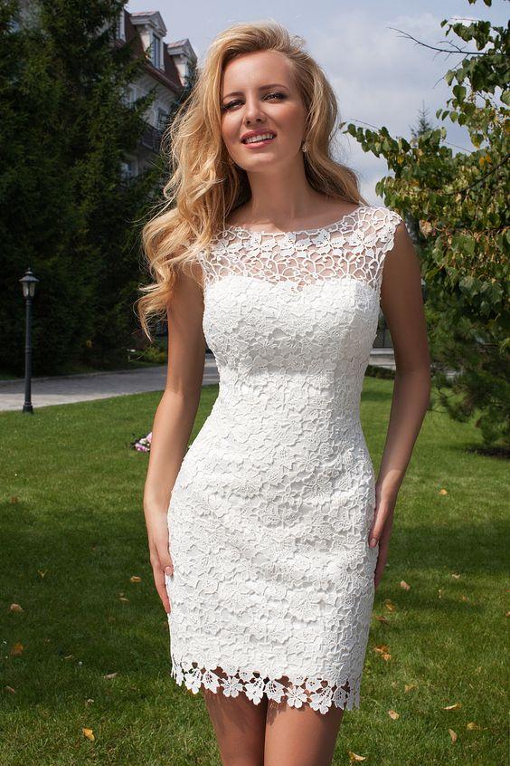 vestido renda curto branco