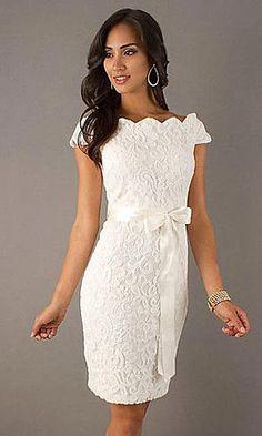 vestido renda curto cintado