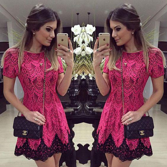 vestido renda curto rosa preto