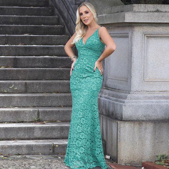 vestido verde renda