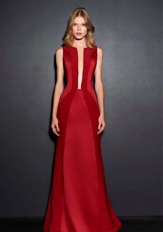 vestido vermelho curto longo