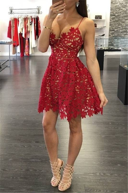 vestido vermelho curto renda