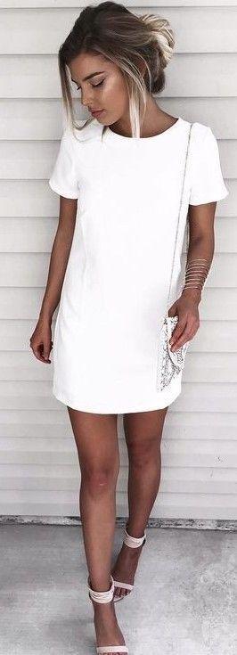 vestidos basicos festa branco curto