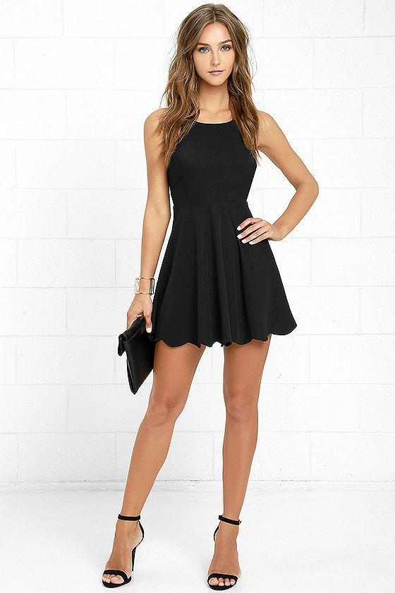 vestidos basicos festa preto curto