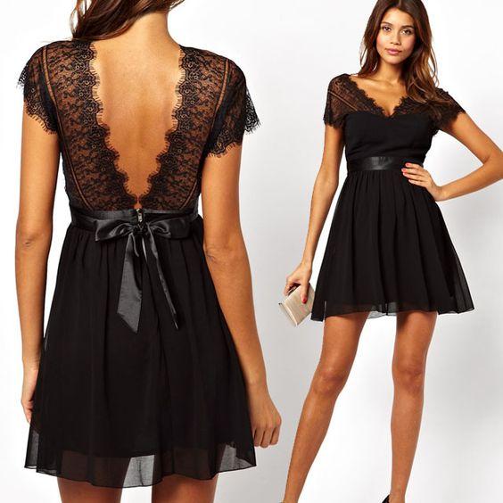 vestidos basicos festa preto renda